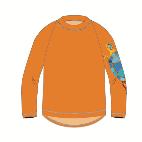 Turtle Long Sleeve Rash Guard Top UPF 50+ for Kids