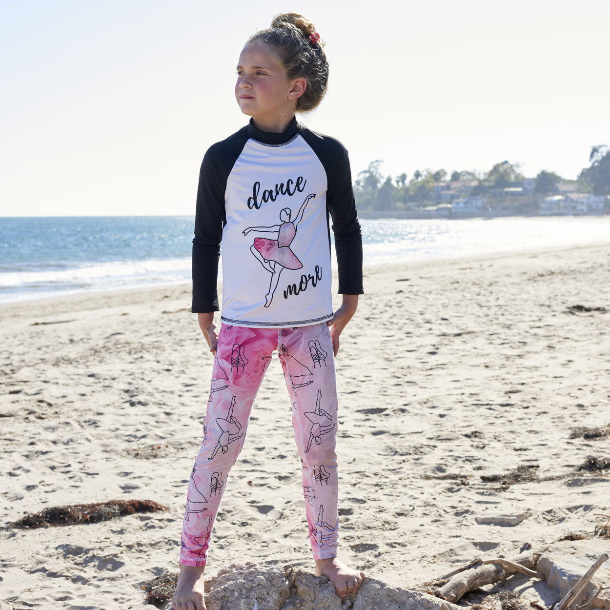 Ballerina Long Sleeve Rash Guard Top UPF 50+ for Girls