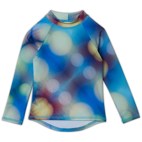 Blue Abstract Long Sleeve Rash Guard Top UPF 50+
