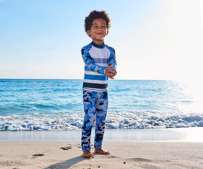 Blue Camo 2 Pc Rash Guard Set Boys Clapping On The Beach Sunpoplife