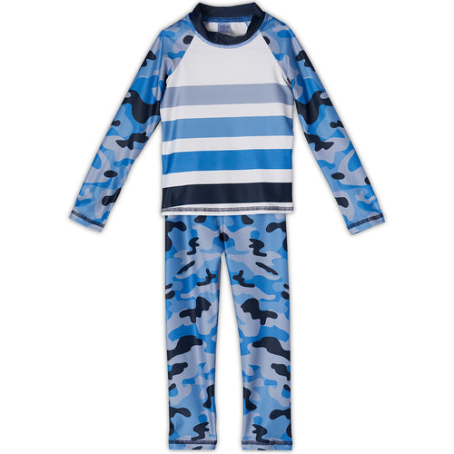 Blue Camo 2Pc Rash Guard Set Boys Sunpoplife
