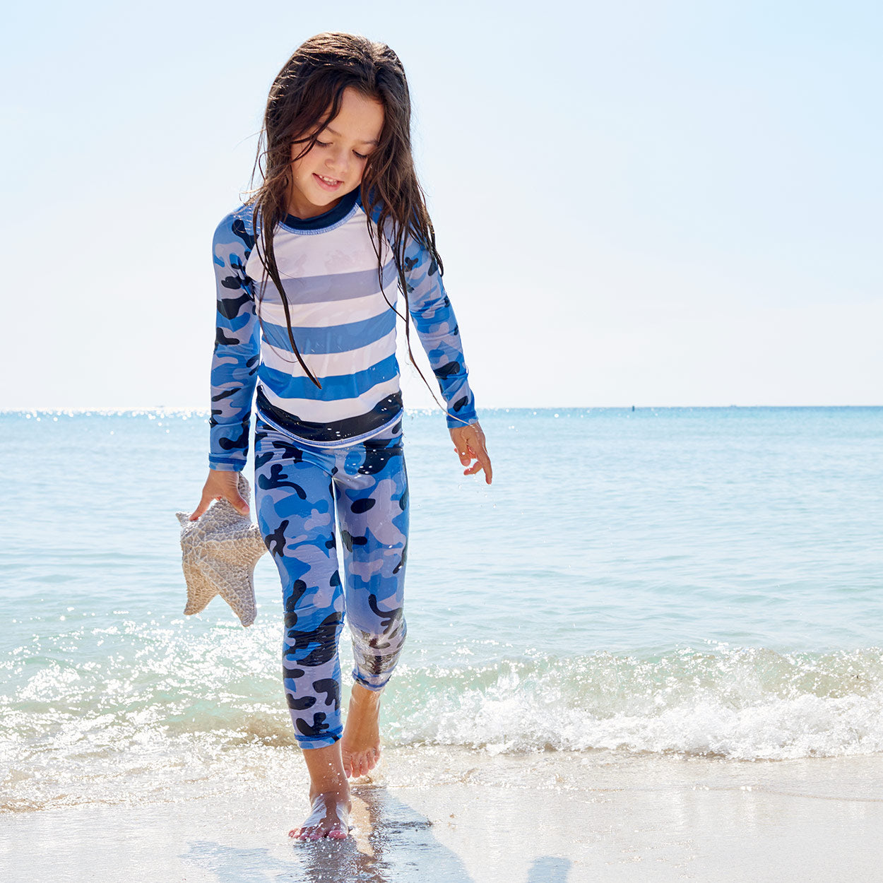 Blue Camo 2Pc Rash Guard Set Girls Shell Found On The Beach Sunpoplife
