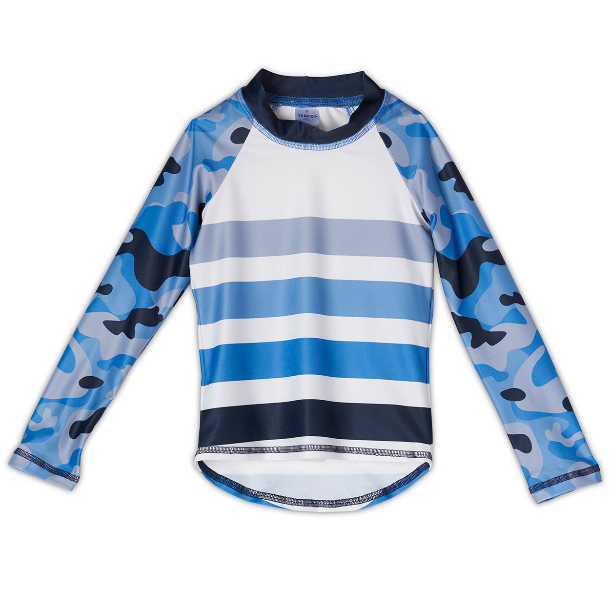 Blue Camo Rash Guard Top Kids Sunpoplife