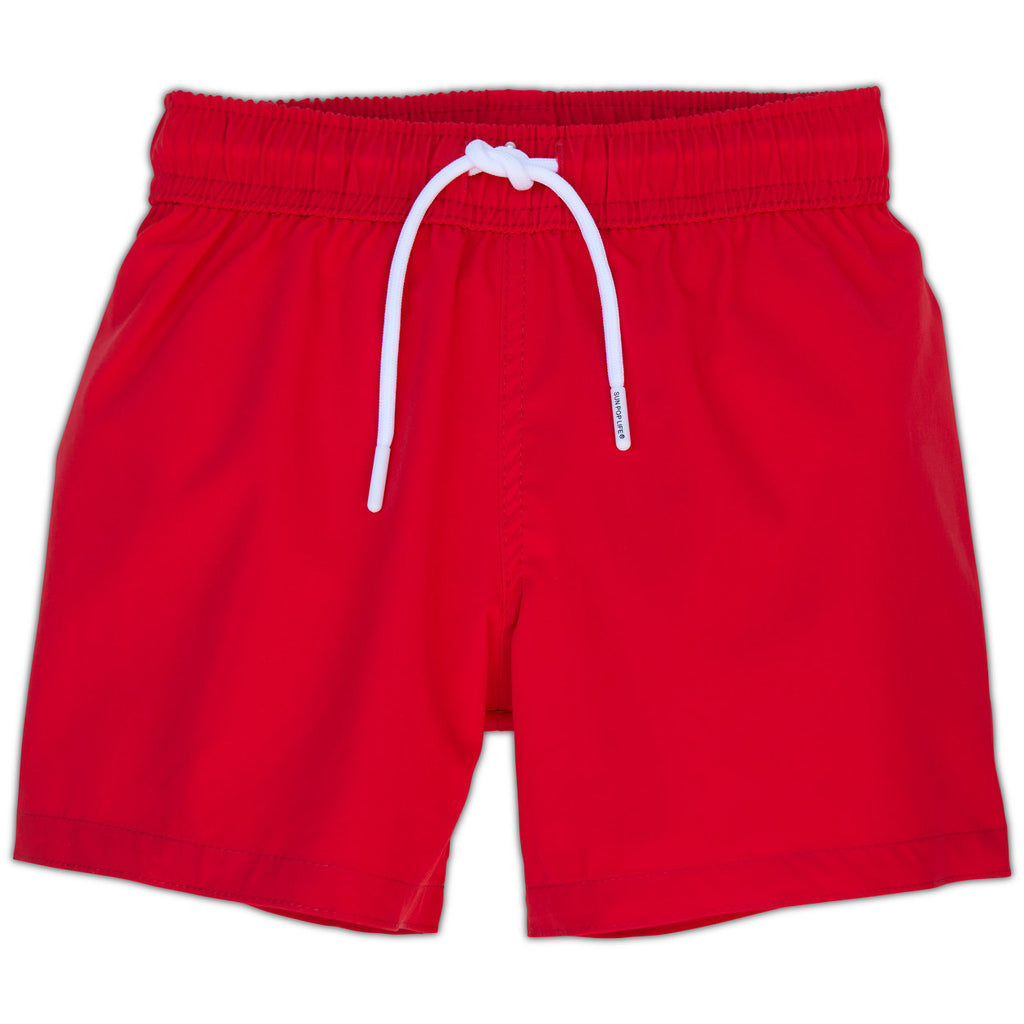 Red Swim Shorts for Boys UPF 50