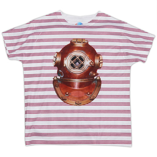Boys Antique Diving Helmet Photo Tshirt Size Xs L White Red Stripes Copper Modern Mariner Sunpoplife