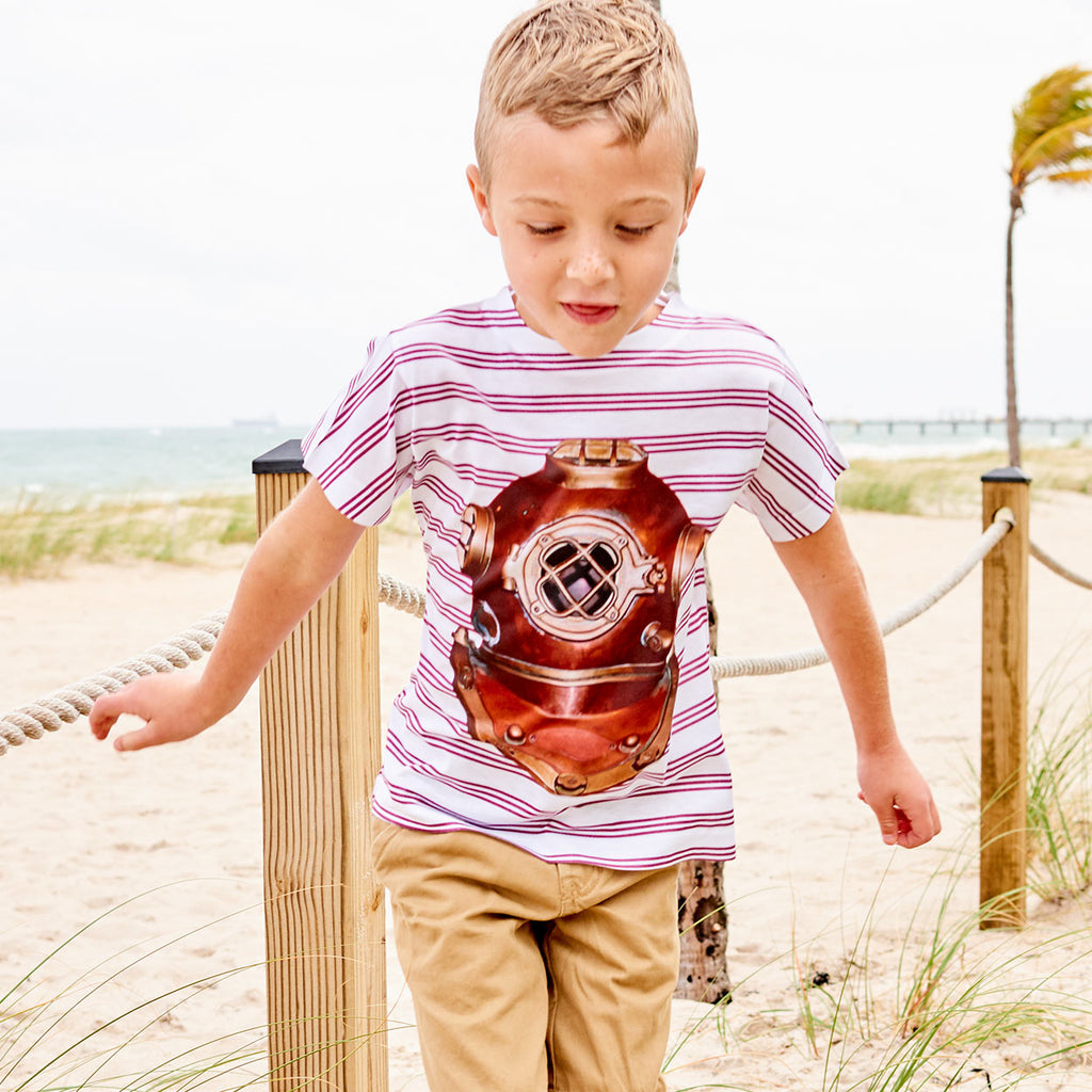 Boys Antique Diving Helmet Tshirt Size Xs L White Red Stripes Copper Modern Mariner Boy Jumping On The Sand By The Ropes Sunpoplife
