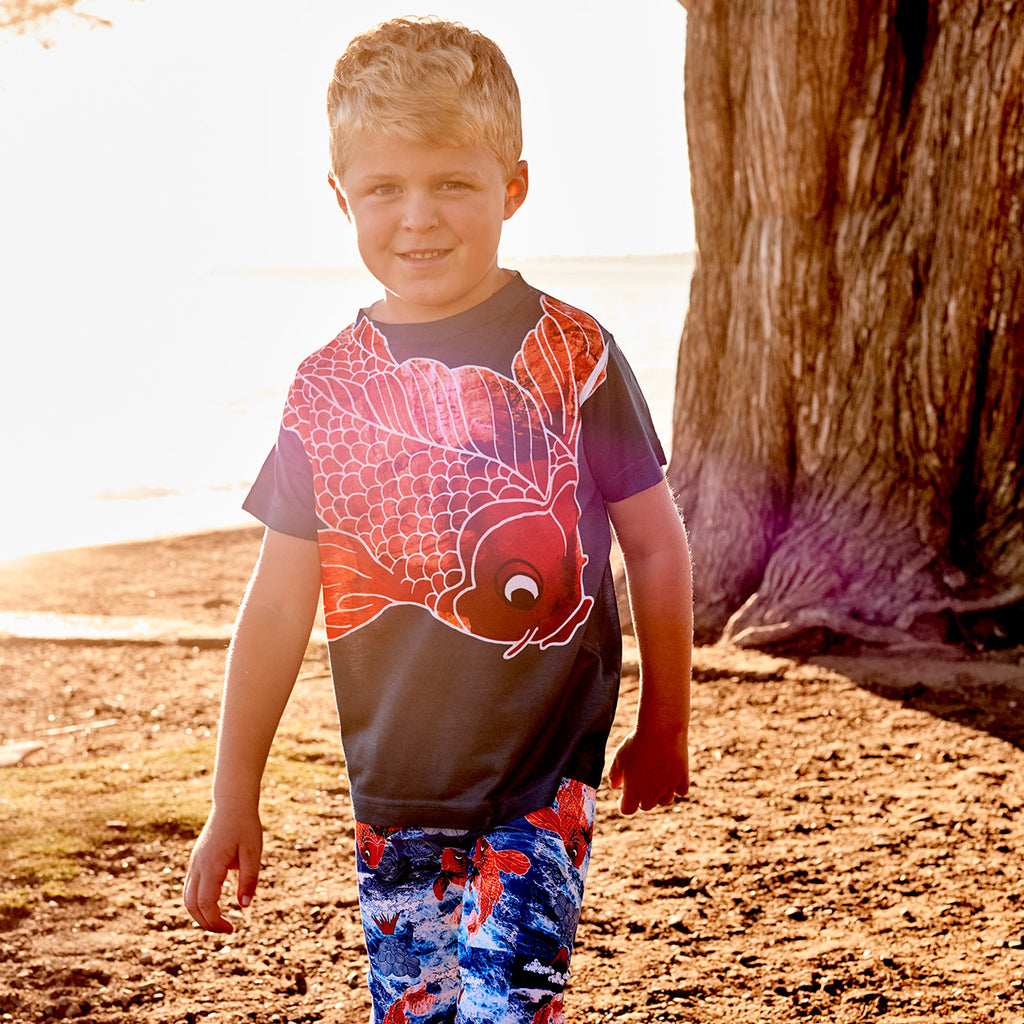 Boys Koi Fish Graphic Tshirt Blue Orange Size Xs L Boy By The Beach At Sunset Sunpoplife