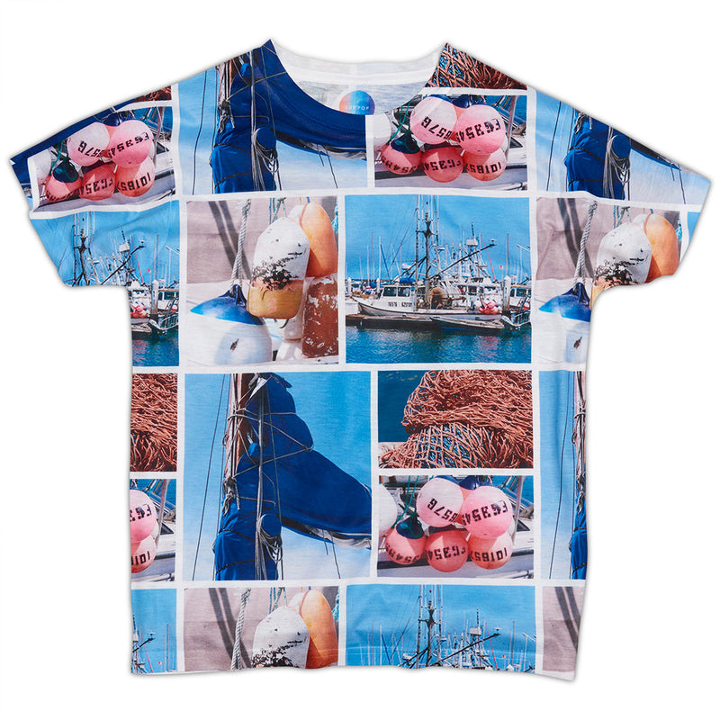 Boys Marina Photo Collage Tshirt Size Xs L Navy Red Sky Blue Modern Mariner Sunpoplife