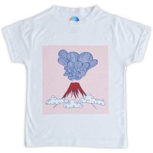 Boys Volcano Graphic Tshirt White Gray Red Size Xs L Sunpoplife