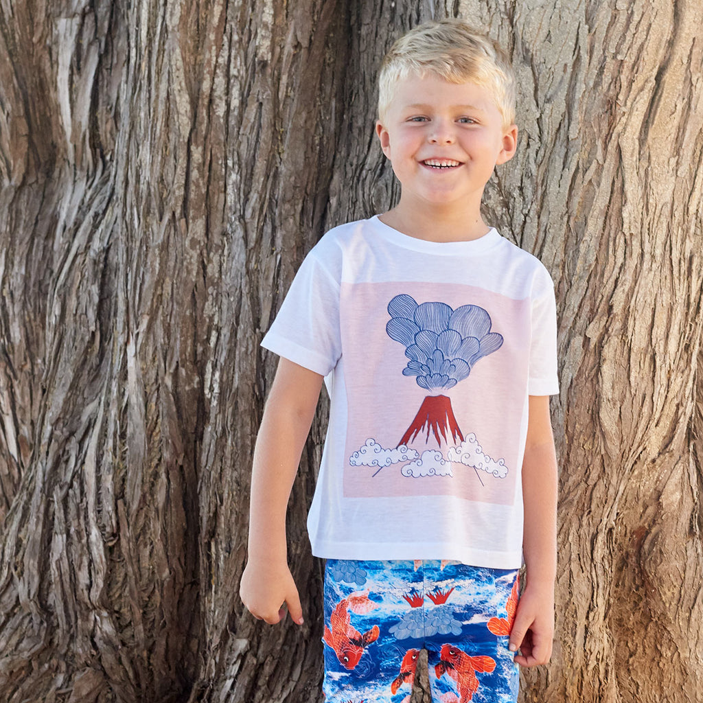 Boys Volcano Graphic Tshirt White Gray Red Size Xs L Surfer Boy At The Beach Sunpoplife