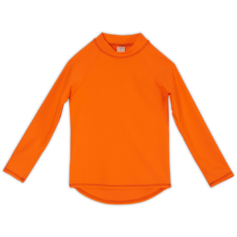 Bright Orange Kids Long Sleeve Rash Guard Top UPF 50+