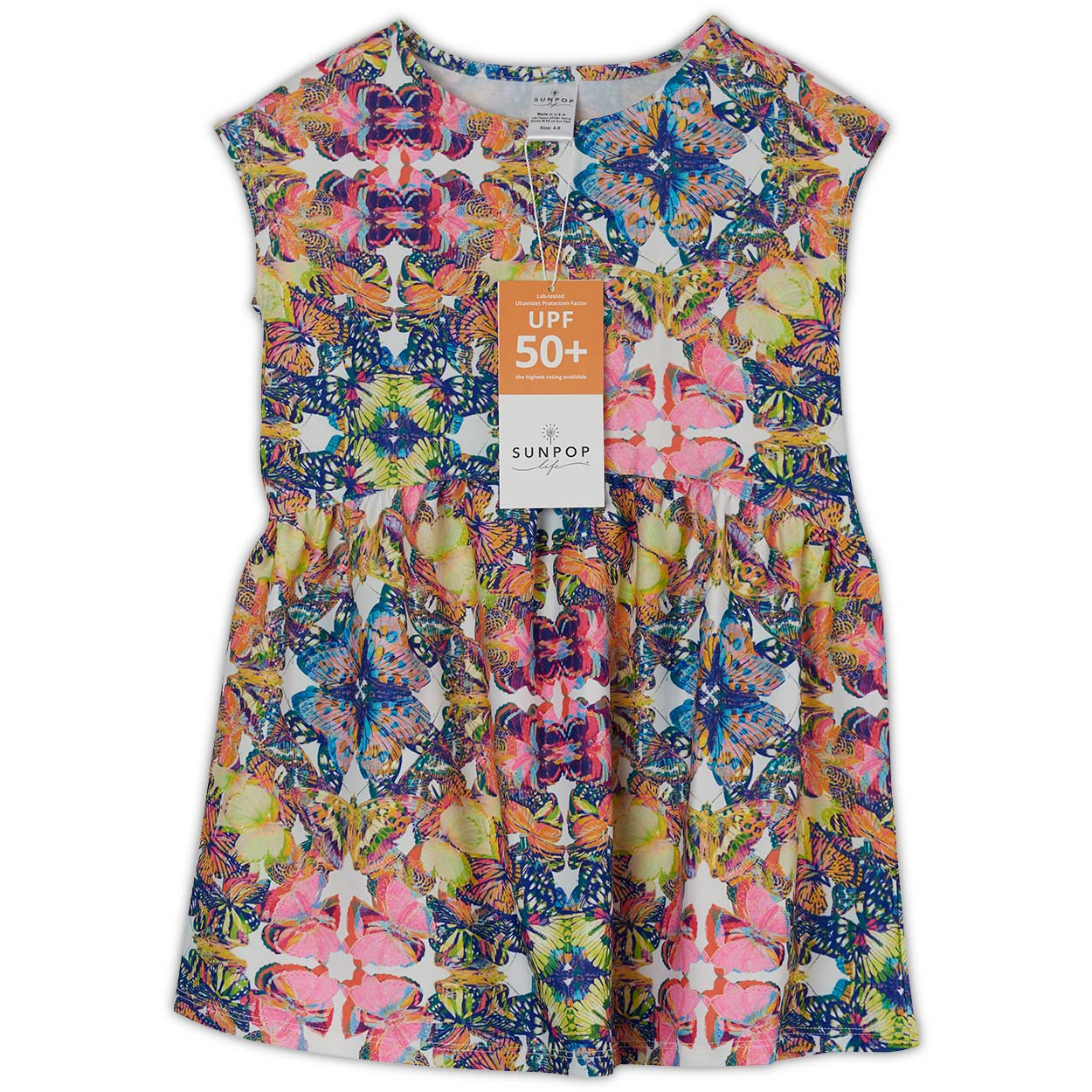 Butterflies Dress UPF 50+ Girls 2-12 - Opaline World | Sun Pop Life