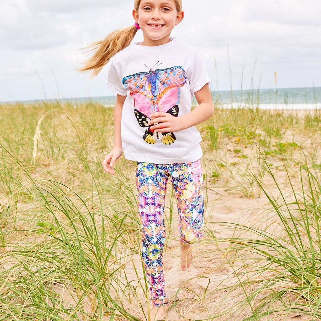Butterflies Hybrid Leggings Upf50 Kids Girls 2 6 Multicolor Opaline World Girl Running Through Seagrass At The Beach Sunpoplife