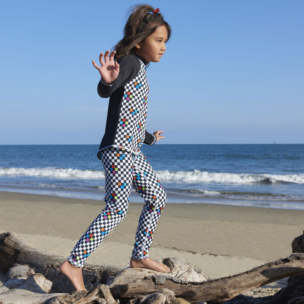 Checkerboard Hybrid Youth Leggings UPF 50+ for Girls