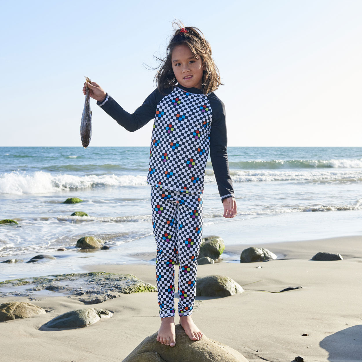 Checkerboard Hybrid Kids Leggings UPF 50+