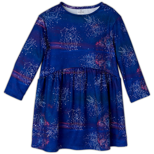 Constellations Dress Girls Size 2 12 Purple Moisture Wicking Cosmos Sunpoplife