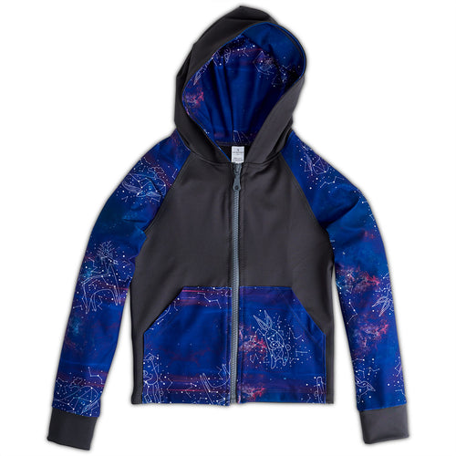 Constellations Zip Up Hoodie Upf50 Kids Size 2 12 Boys Girls Purple Grey Unisex Cosmos Sunpoplife