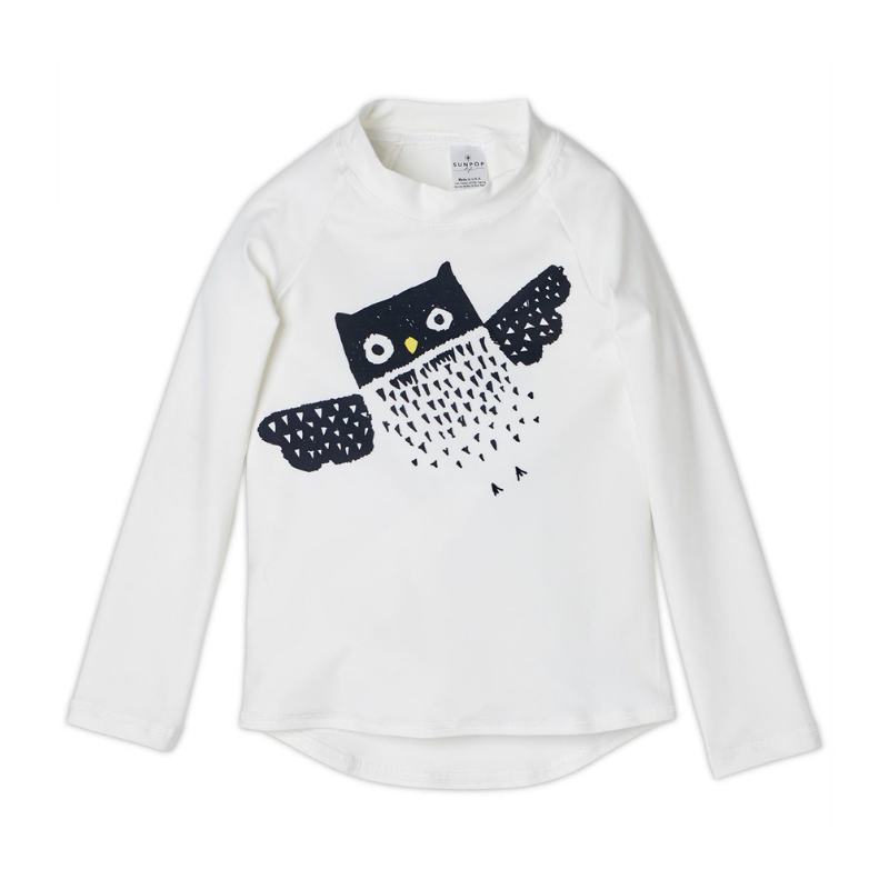 Diagonal Owl Long Sleeve Rash Guard Top Upf50 Kids Boys Girls Size 2 12 White Black Unisex Sunpoplife