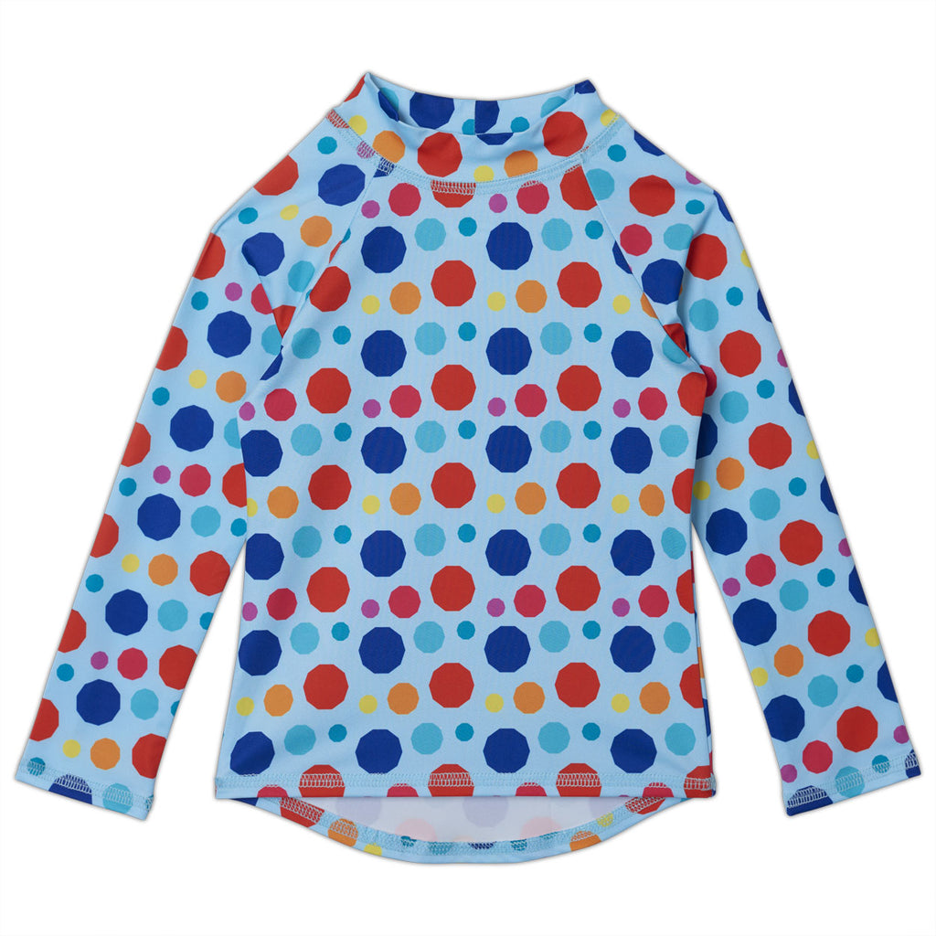 Dots Long Sleeve Rash Guard Top UPF 50+for Girls