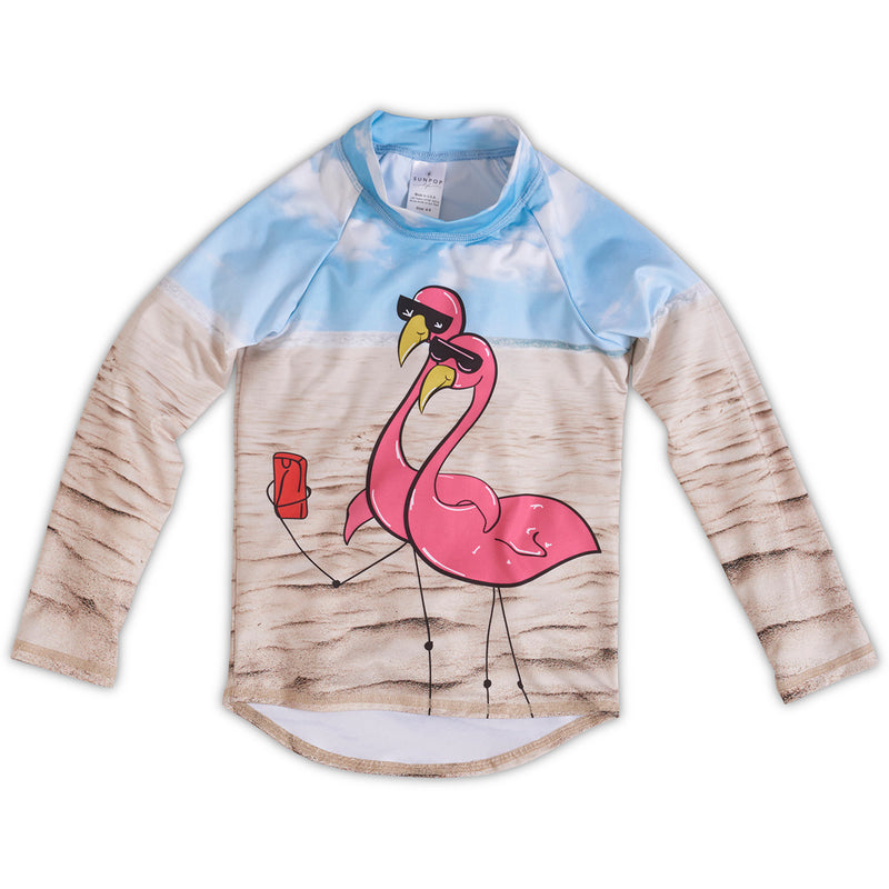 Flamingo Rash Guard Top Girls Sunpoplife