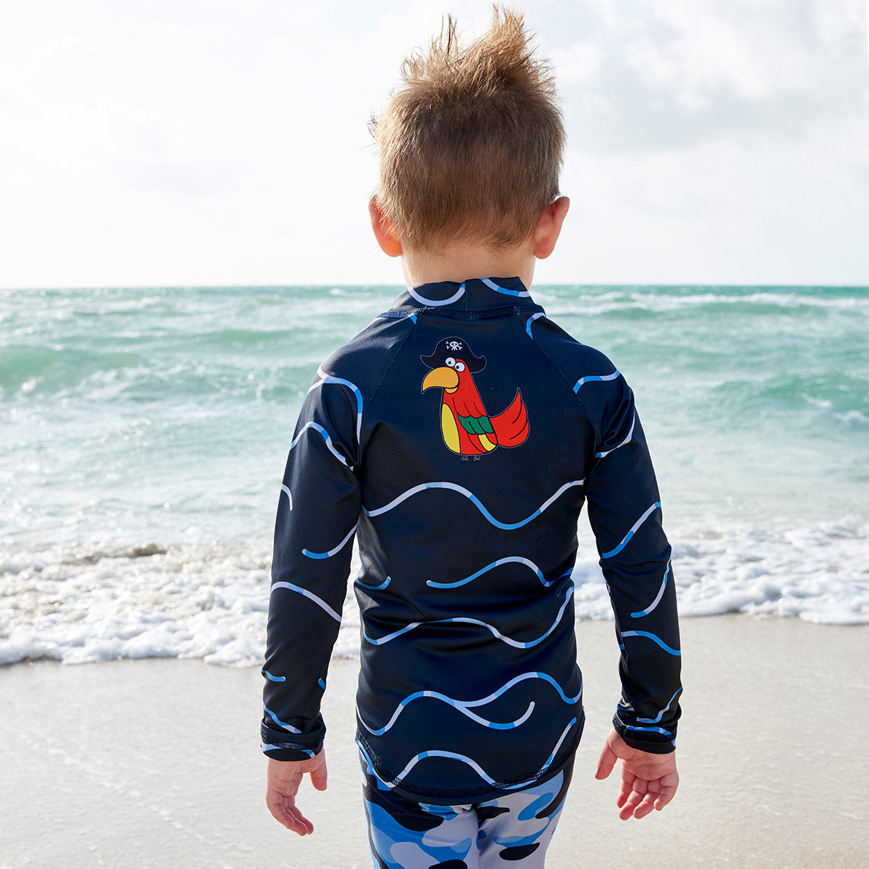 Fun Pirate Top Back Rash Guard Set Boy Walking On The Sand Beach Sunpoplife