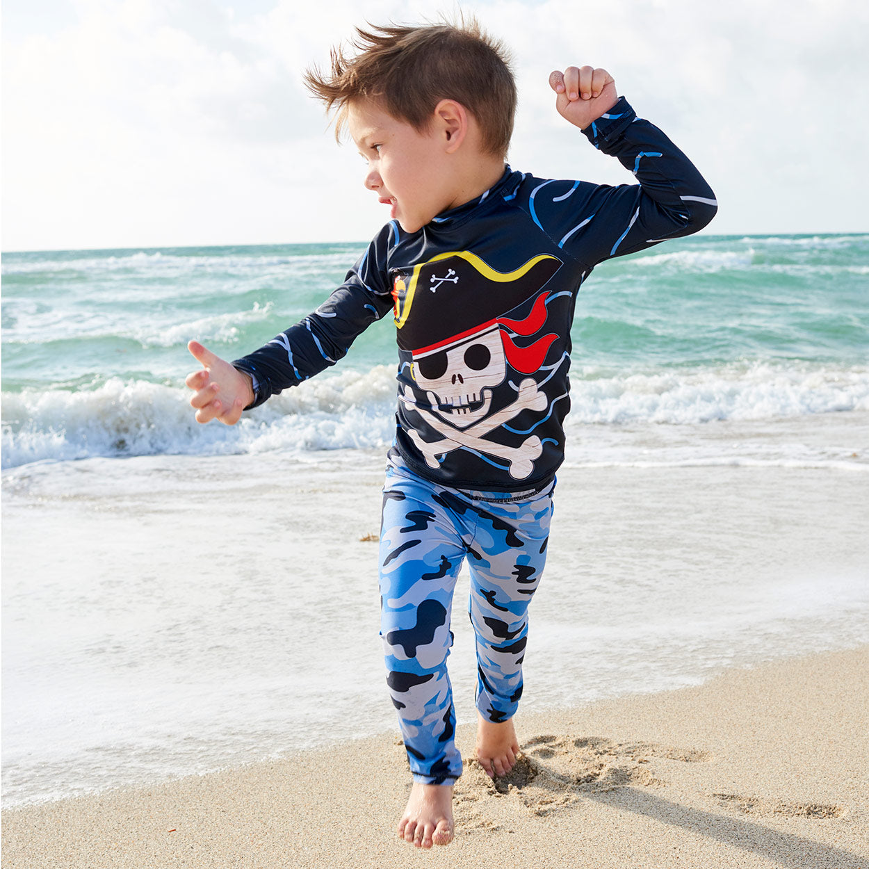 Fun Pirate Top Front Rash Guard Set Boy Dancing Under The Sun Beach Sunpoplife
