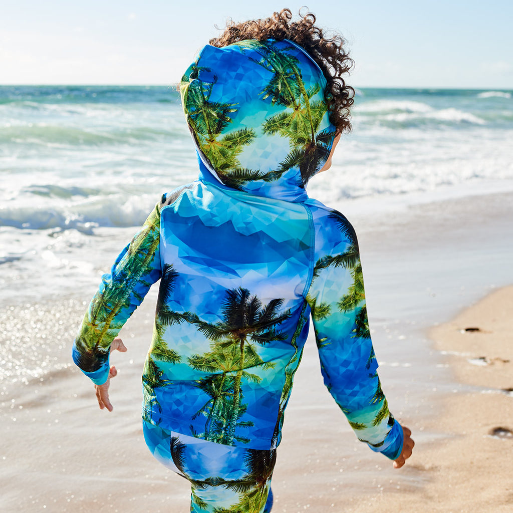 Geo Tropical Hybrid Zip Up Hoodie Upf50 Kids Boys 2 12 Green Blue Palm Trees Unisex Boy In Hoodie Running On The Beach Back View Sunpoplife