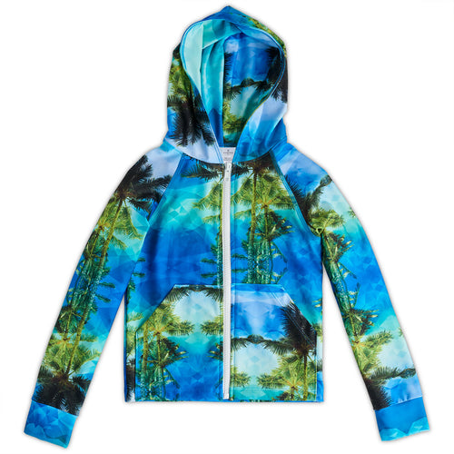 Geo Tropical Hybrid Zip Up Hoodie Upf50 Kids Boys 2 12 Green Blue Palm Trees Unisex Sunpoplife