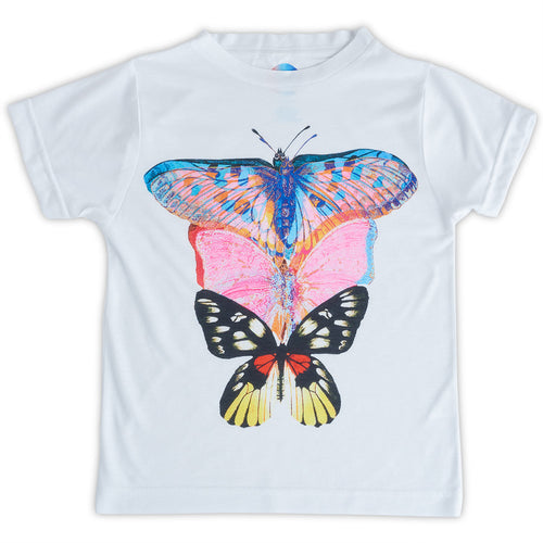 Girls Butterfly Art Graphic Tshirt Size Xs L White Pink Blue Opaline World Sunpoplife