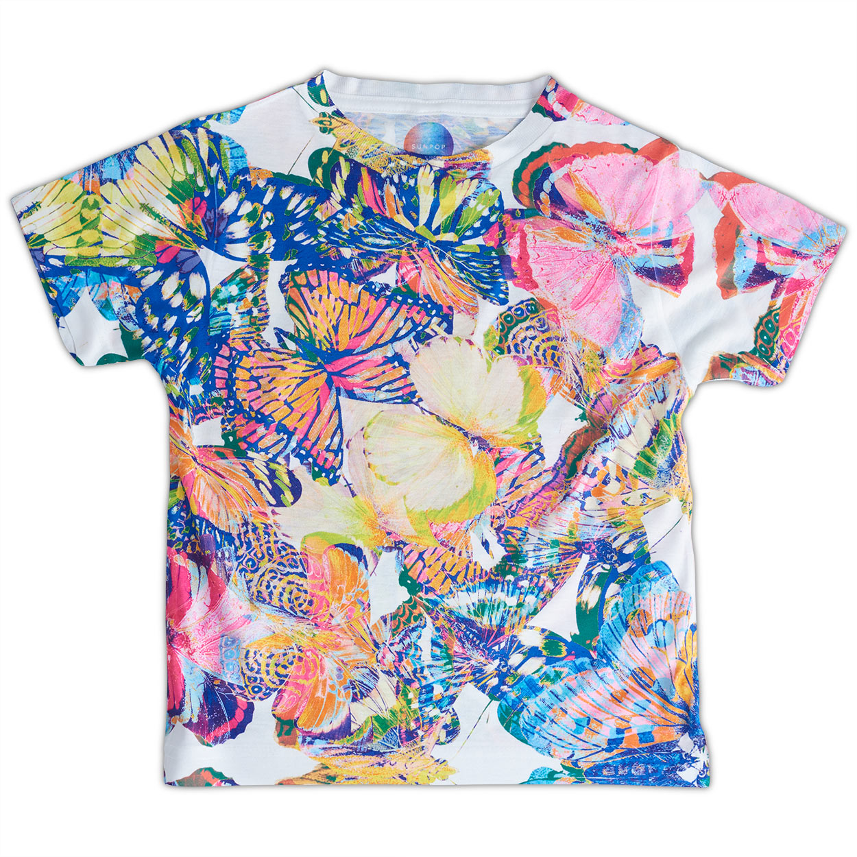Girls Kaleidoscope Graphic Shirt Size Xs L Yellow Orange Blue Butterflies Opaline World Sunpoplife