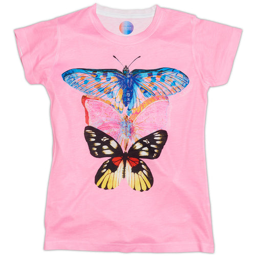 Girls Pink Butterfly Graphic Tshirt Size Xs L Pink Blue Opaline World Sunpoplife