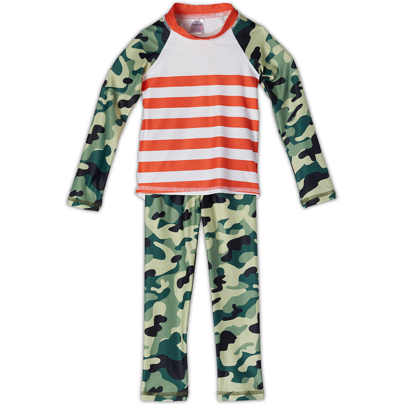 Green Camo 2 Pc Rash Guard Set Boys Sunpoplife
