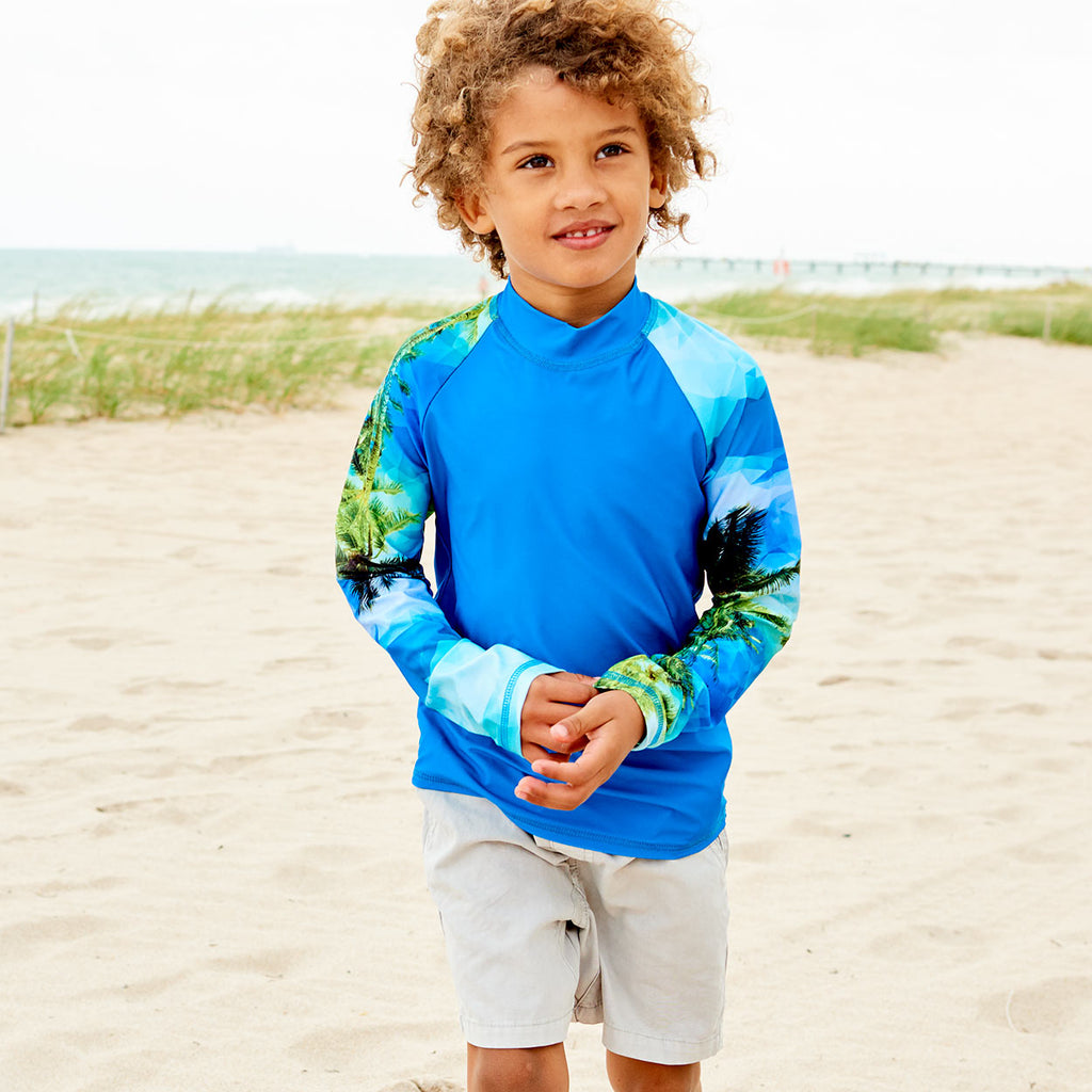 Hawaiian Long Sleeve Rash Guard Top Upf50 Kids Boys Girls Size 2 12 Unisex Green Blue Palm Trees Geo Tropical Boy Walking On The Sand Fixing A Sleeve Sunpoplife