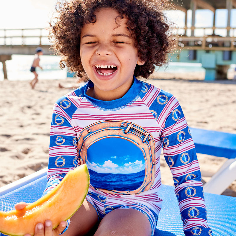 Horizon Long Sleeve Rash Guard Top Upf50 Kids Boys Girls Size 2 12 Porthole Red White Blue Stripes Denim Modern Mariner Unisex Boy By The Pier Laughing Holding A Slice Of Cantaloupe Sunpoplife