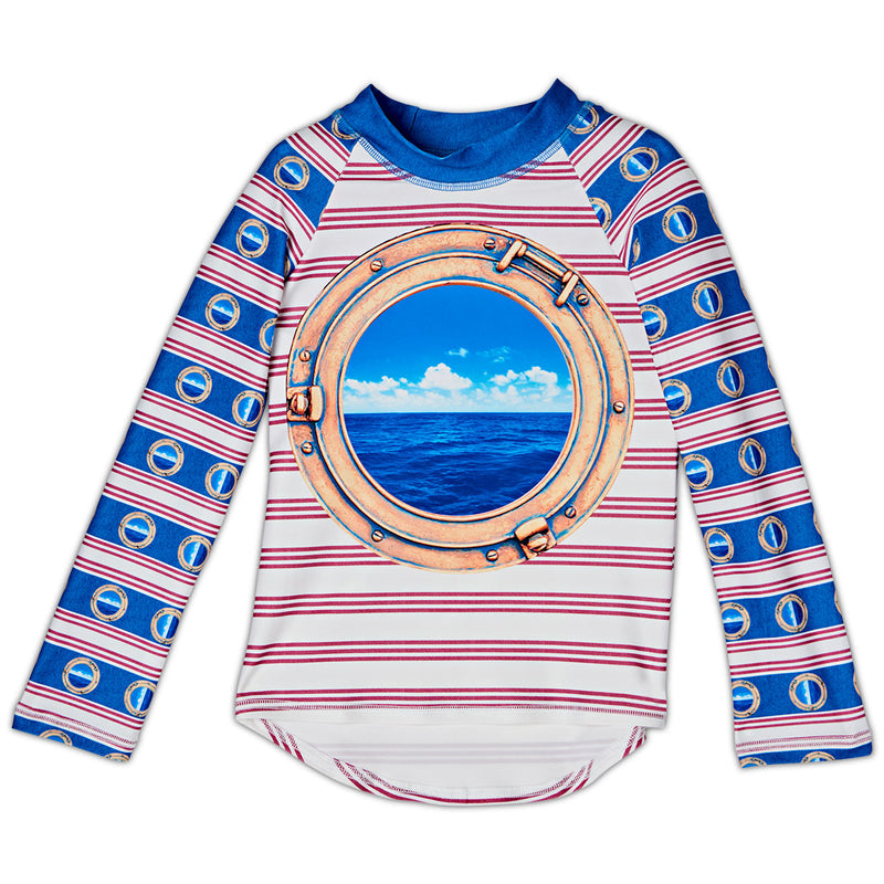 Horizon Long Sleeve Rash Guard Top Upf50 Kids Boys Girls Size 2 12 Porthole Red White Blue Stripes Denim Modern Mariner Unisex Sunpoplife