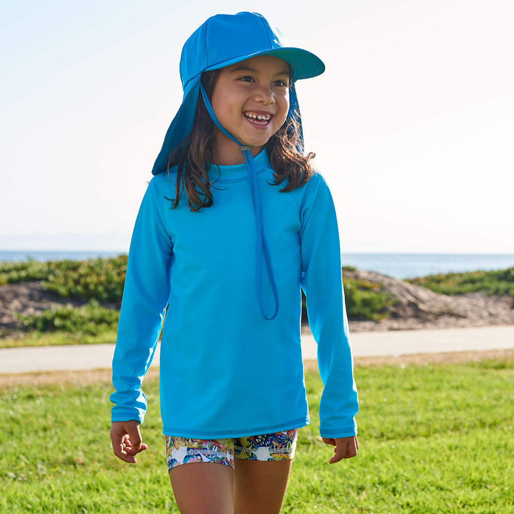 Island Blue Kids Long Sleeve Rash Guard Top UPF 50+