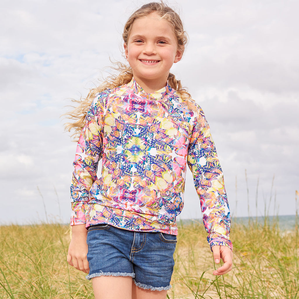 Kaleidoscope Long Sleeve Rash Guard Top Upf50 Girls Size 2 12 Butterflies Multicolor Opaline World Smiling Girl Walking Through Seagrass By The Beach Sunpoplife