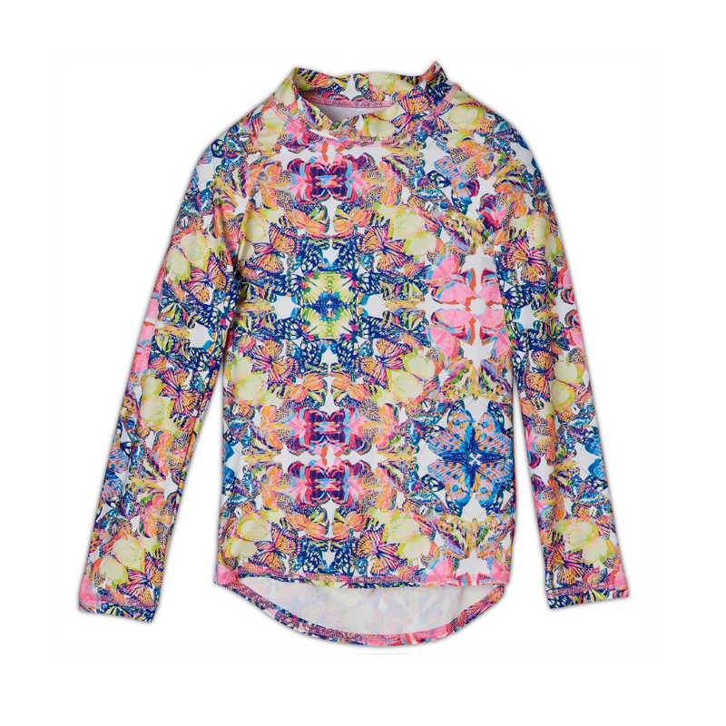 Kaleidoscope Long Sleeve Rash Guard Top Upf50 Girls Size 2 12 Butterflies Multicolor Opaline World Sunpoplife
