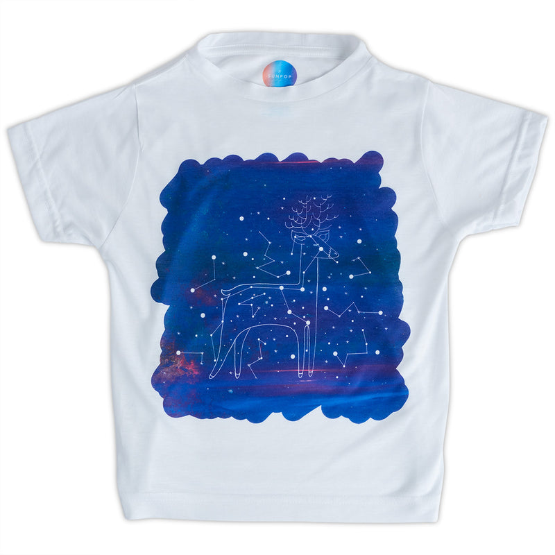 Kids Deer Graphic Tshirt Size Xs L White Purple Unisex Cosmos Orion Constellations Sunpoplife