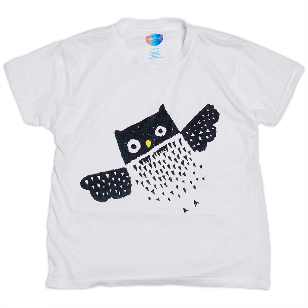 Kids Diagonal Owl Graphic Tshirt Black White Size Xs L Unisex Sunpoplife