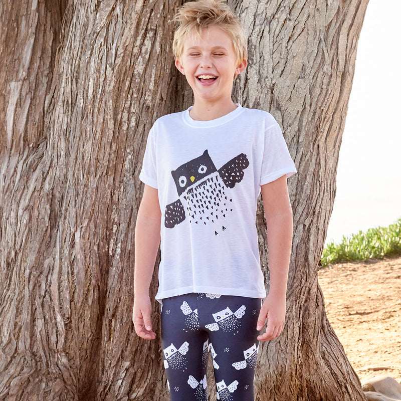Kids Diagonal Owl Graphic Tshirt Black White Size Xs L Unisex Surfer Boy By A Tree Sunpoplife