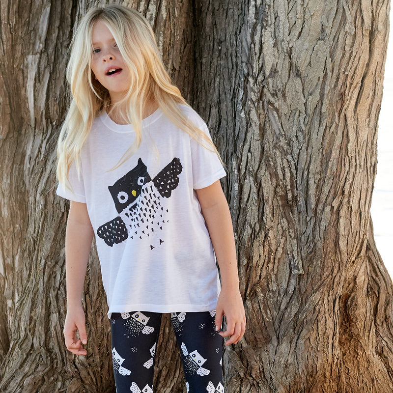 Kids Diagonal Owl Graphic Tshirt Black White Size Xs L Unisex Surfer Girl By A Beach Tree Sunpoplife