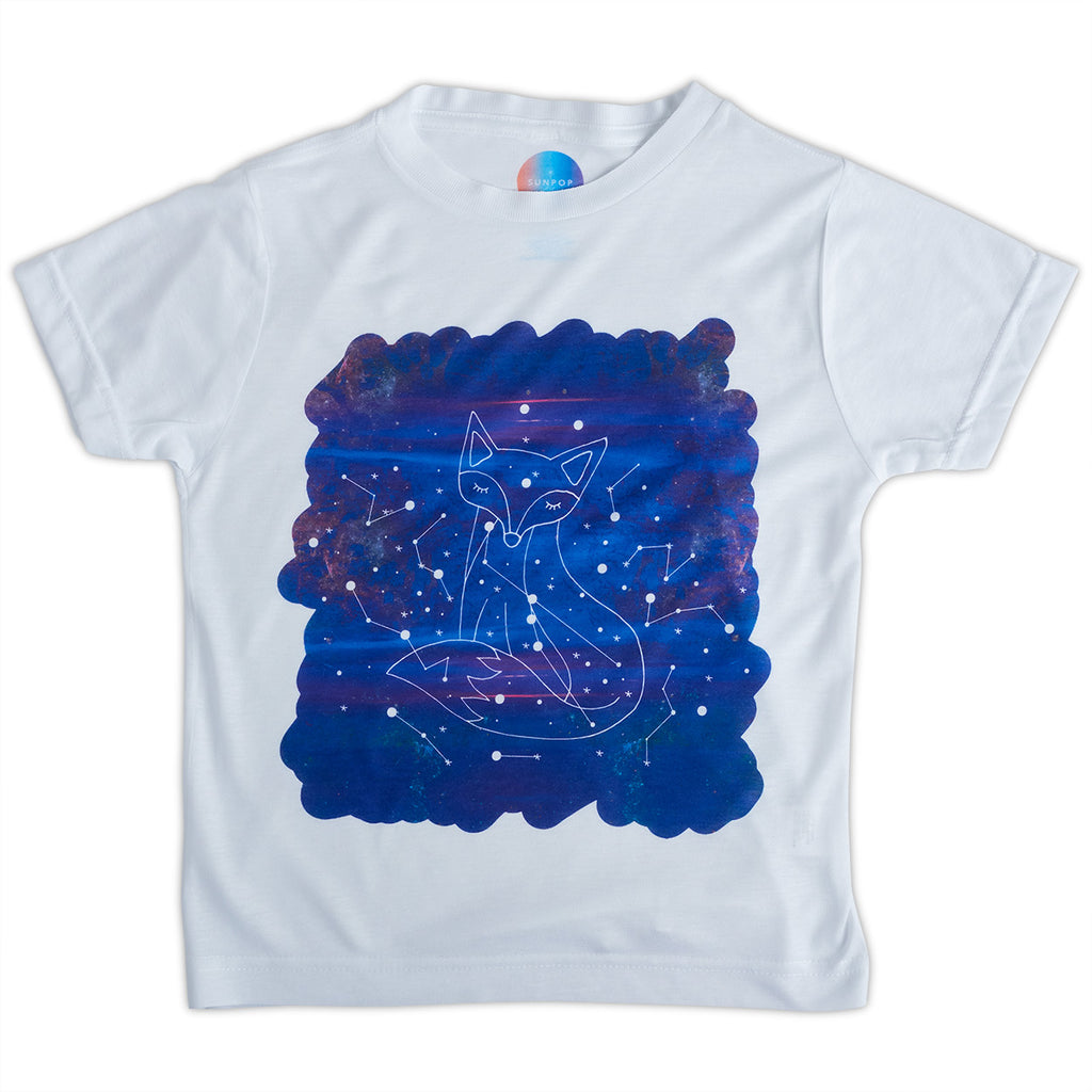Kids Fox Graphic Tshirt Size Xs L White Purple Unisex Cosmos Vulpecula Constellations Sunpoplife
