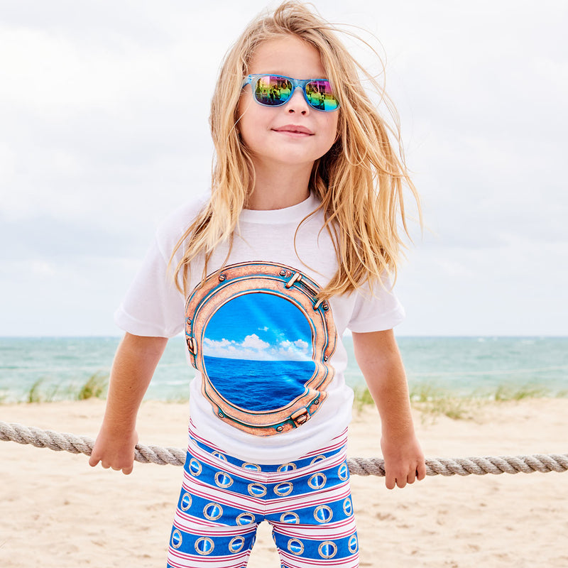 Kids Horizon Photo Tshirt Size Xs L Unisex White Blue Bras Porthole Modern Mariner Girl Holding On To Ropes At The Marina Sunpoplife