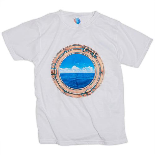 Kids Horizon Photo Tshirt Size Xs L Unisex White Blue Brass Porthole Modern Mariner Sunpoplife