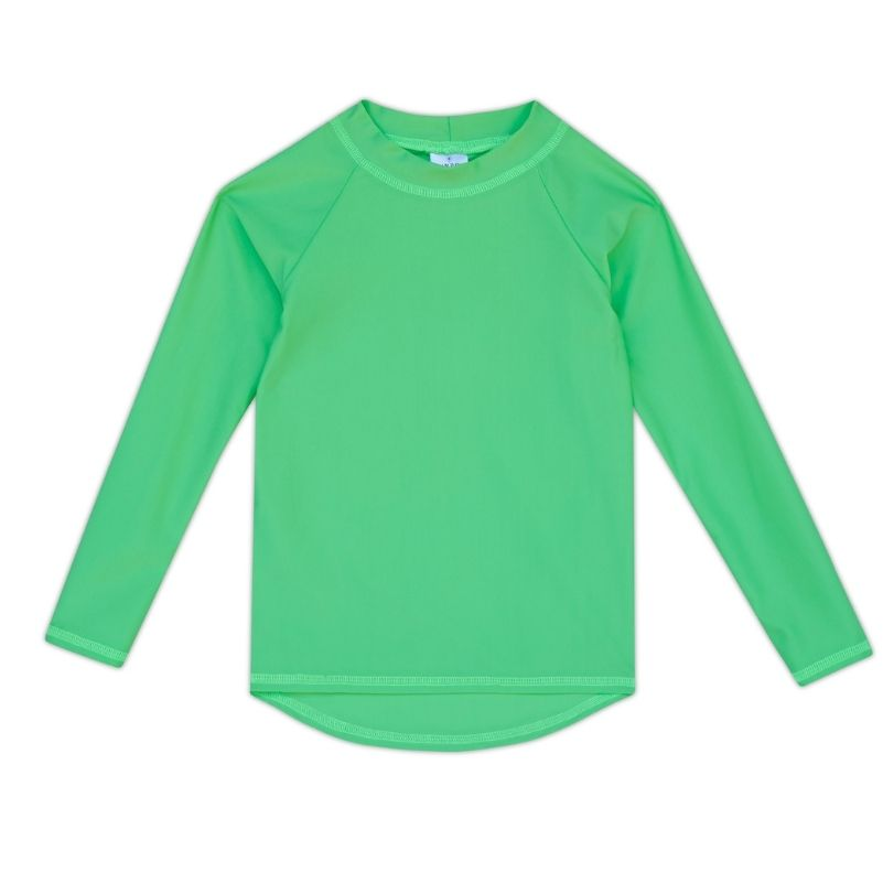 Kids Long-Sleeve Rashguard Top UPF 50+ in Lime Green