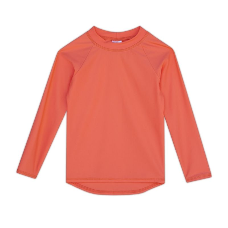 Kids Long-Sleeve Rashguard Top UPF 50+ in Papaya Color