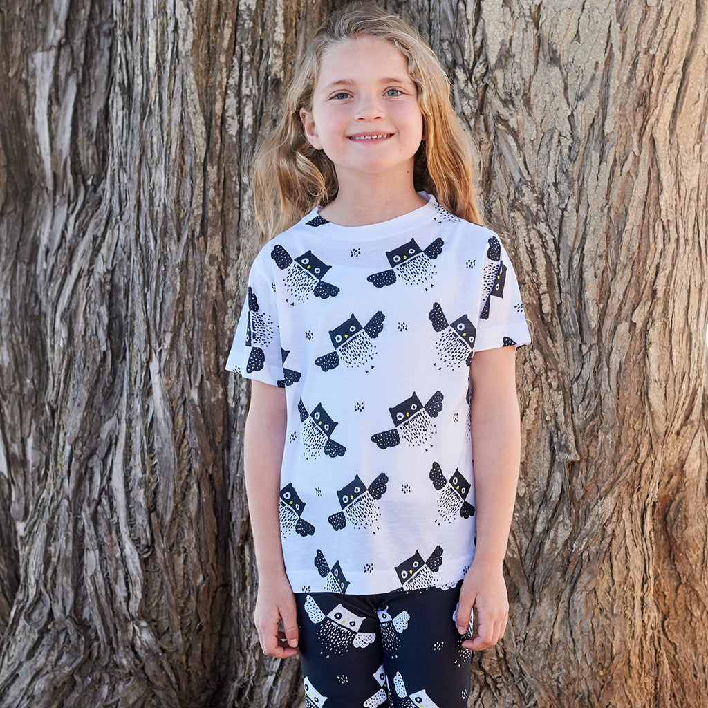 Kids Owls Pattern Graphic Tshirt Black White Size Xs L Unisex Beach Girl Standing On The Shade Of A Tree Sunpoplife