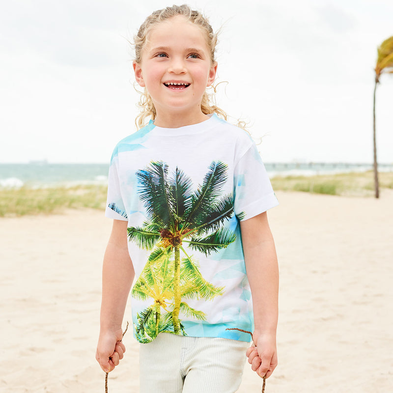 Kids Palm Trees Photo Tshirt White Green Blue Size Xs L Unisex Geo Tropical Happy Girl At The Beach Carrying Coconuts Sunpoplife