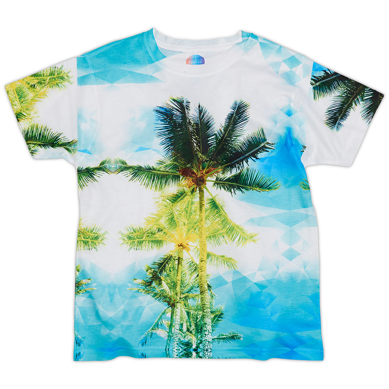 Kids Palm Trees Photo Tshirt White Green Blue Size Xs L Unisex Geo Tropical Sunpoplife